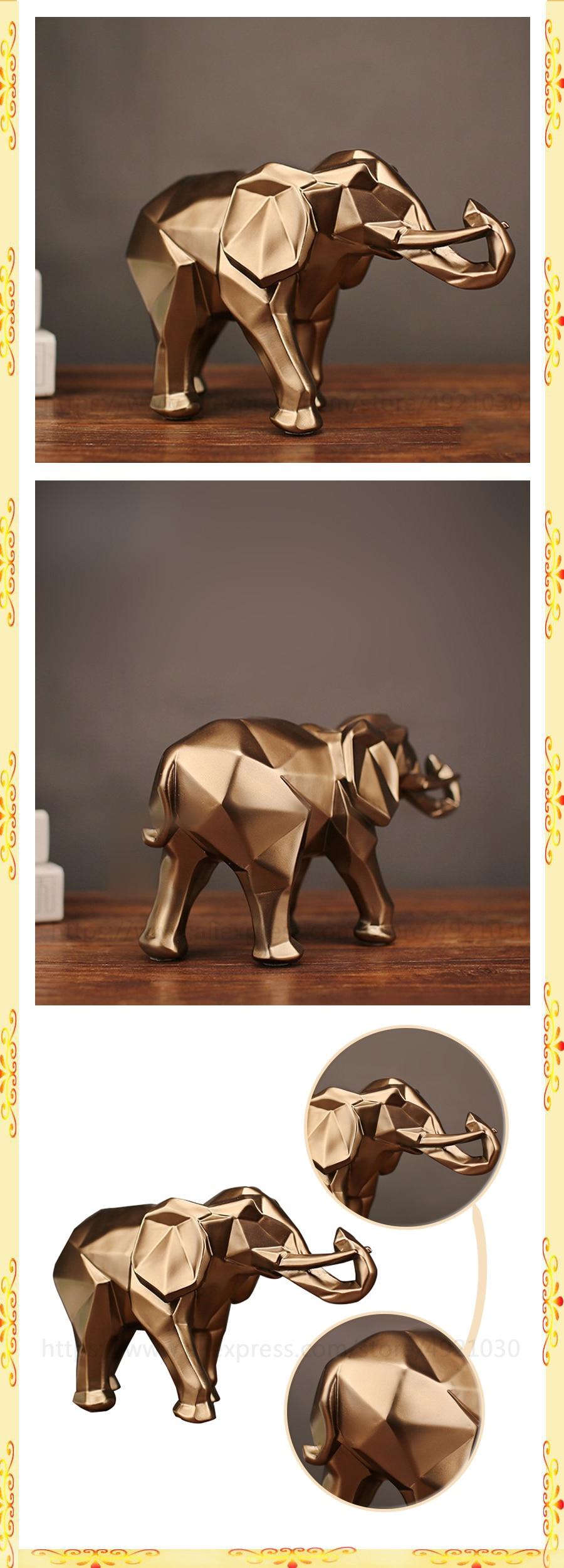 2021 abstrato moderno elefante dourado estátua resina
