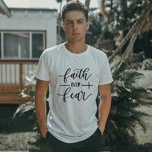 T-shirt manches courtes homme, estival et à la mode, Harajuku, jésus, foi sur la peur