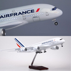 1/160 Schaal 50.5 Cm Vliegtuig Airbus A380 Air France Luchtvaartmaatschappij Model W Led Light & Wiel Diecast Plastic Hars Vliegtuig voor Collection