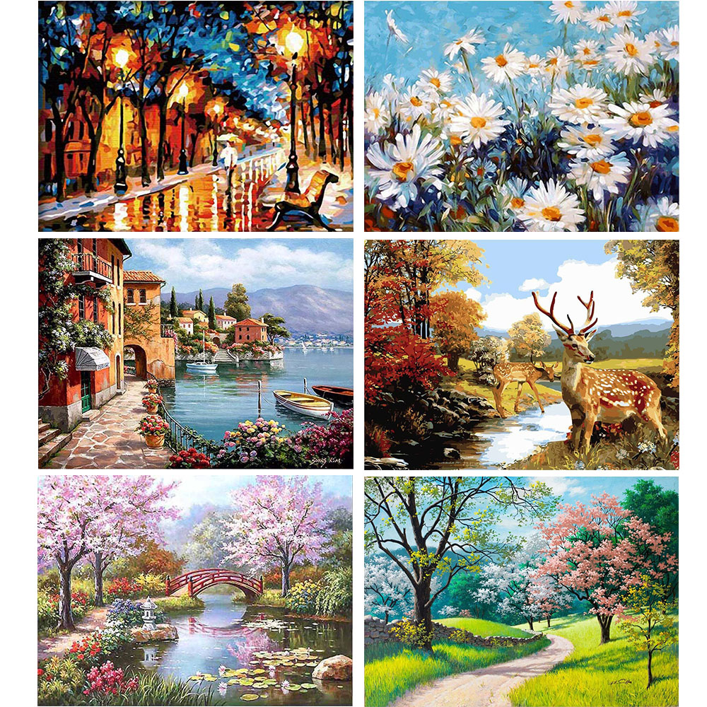 GATYZTORY 40×50CM DIY Painting By Numbers Picture Colouring Zero Basis HandPainted Oil Painting Unique Gift Home Decor