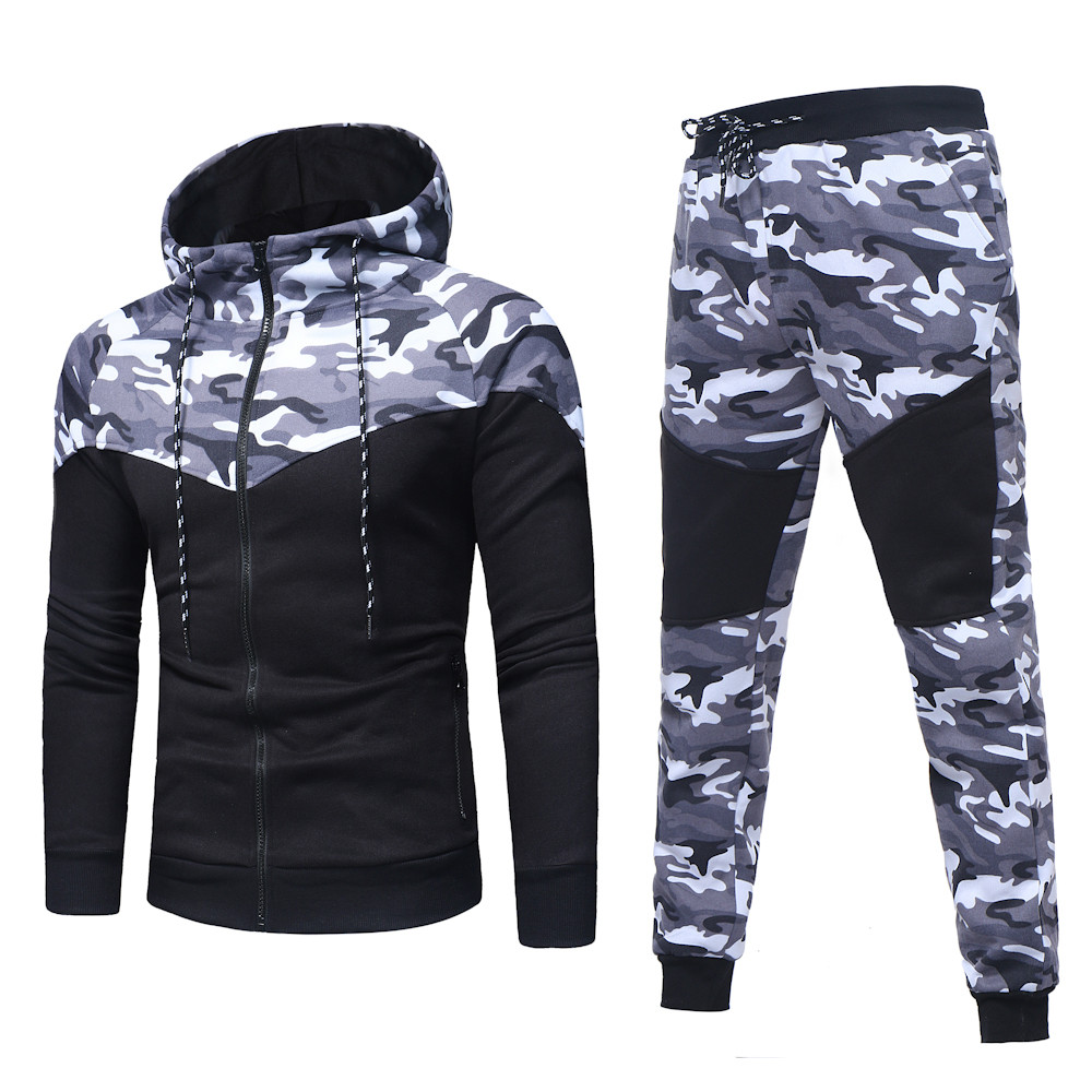 Men's Sets Autumn Winter Camouflage Top Pants Sets Sports Fashion Suit Tracksuit Tracks Casual Mens Hooded Blouse Pants New