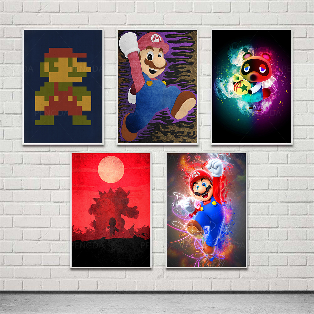 Cartoon Mario Red Hat HD Bread Prints Home Decor Painting Poster Wall Art Canvas Modular Gifts No Frame Pictures For Living Room