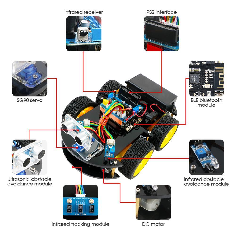 Coches Robot Keywish 4WD para Arduino Starter Kit coche inteligente APP RC robótica Kit de aprendizaje educativo STEM Toy chico lection + Video + código - 6
