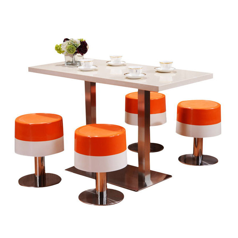 Restaurant Bar Stool Snack Bar Fast Food Glass Reinforced Plastic Round Stool Stainless Steel Fixed High Stool