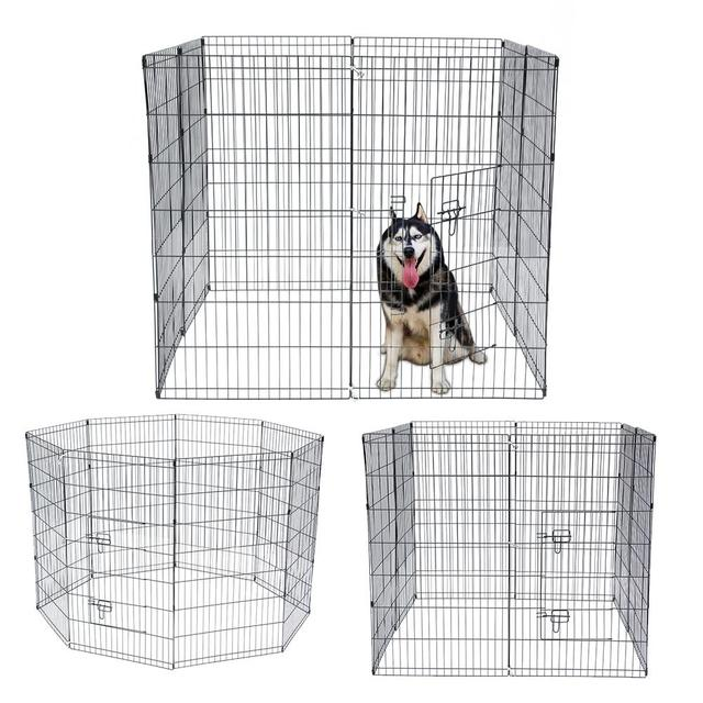 8 Panel Foldable Pet Dogs Cats Fence Small Animal Cage Indoor Portable Metal Wire Yard Fence Rabbits Kennel Crate Fence Tent 2
