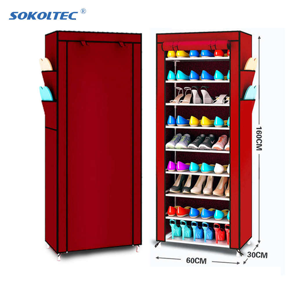 Fast Dispatch Sokoltec Furniture Shoe Rack Shoe Cabinet Dustproof Shoe Storage Home Bedroom Dormitory Shoe Rack Organizer