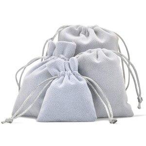 Image 5 - Weiche Samt Tasche 7x9cm 9x12cm Dicke Grau Kordelzug Beutel für Schmuck Geschenk Verpackung Weihnachten geburtstag Party Hochzeit Favor Holde