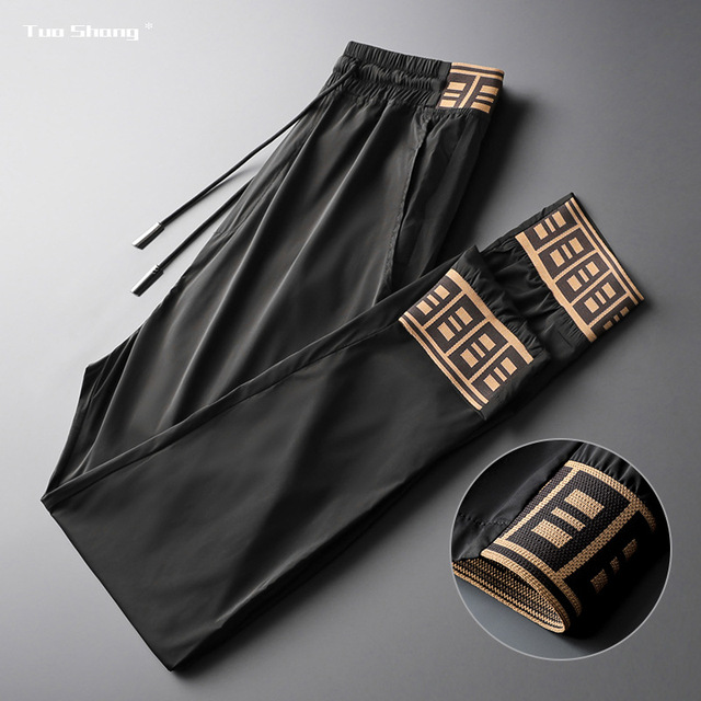 2019 Mens Luxury Jogger Pants New Brand Drawstring Sports Pant Men Stitching Thin Section Ribbon Personality Casual Trousers 13