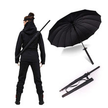 HHYUKIMI Drop Shipping Windproof Samurai Sword Sun Rainny Umbrella Ninja-like Straight Long Handle Ribs Umbrella Manual Open(China)
