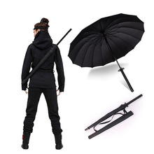 HHYUKIMI Brand Drop Shipping Windproof Samurai Sword Sun Rainny Umbrella Ninja-like  Straight Long Handle Ribs Manual Open Close