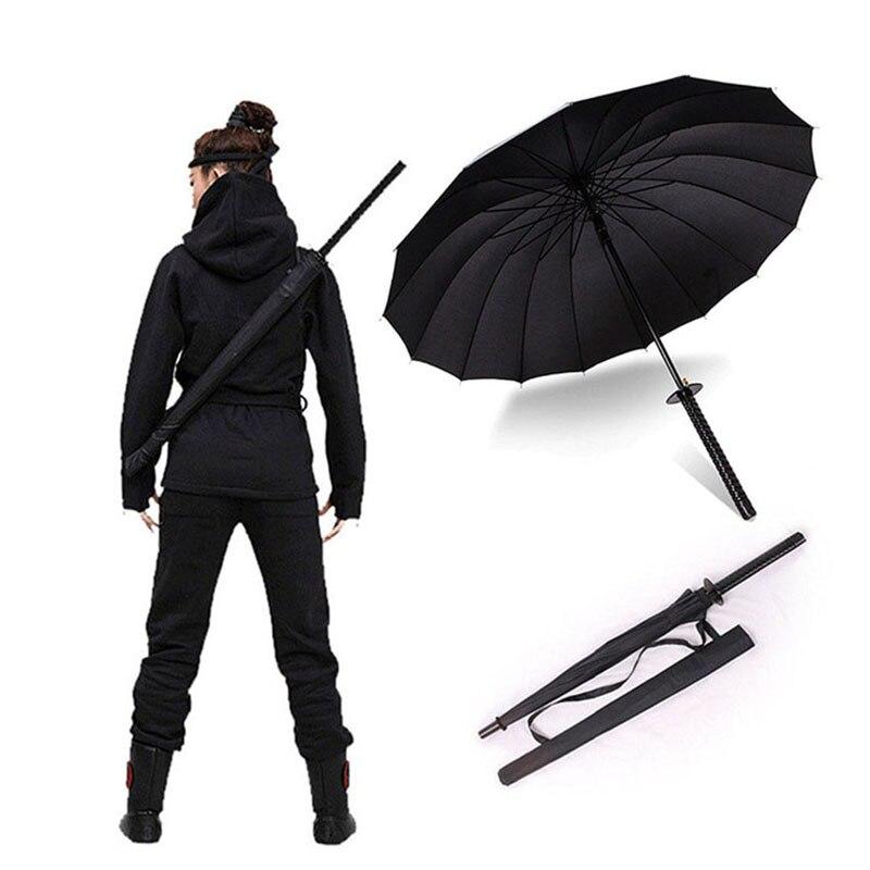 HHYUKIMI livraison directe coupe-vent samouraï épée soleil Rainny parapluie Ninja-comme droit Long poignée côtes parapluie manuel ouvert