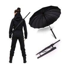 HHYUKIMI paraguas impermeable de samurái a prueba de viento, tipo paraguas Ninja con mango largo recto, costillas, paraguas con apertura Manual