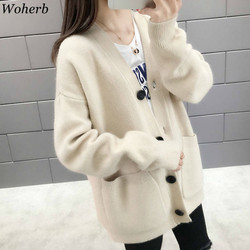 Woherb Black Knitted Sweater Women V Neck Long Sleeve Solid Color Cardigan Vintage Harajuku Casual Loose Tops Fashion New 90728 5