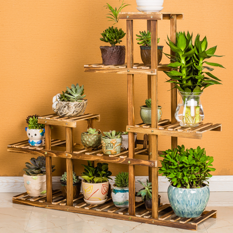 Wood Quality Multi-storey Indoor A Living Room Shelf Assemble Ground Decorate Flowerpot Frame