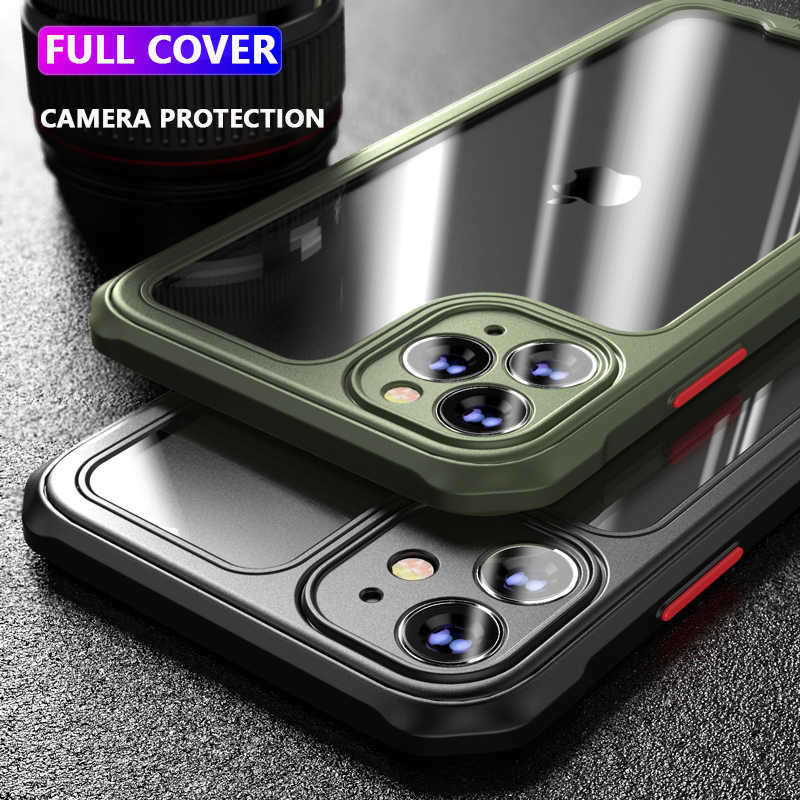 Luxe Armor Telefoon Case Voor Iphone 12 11 Pro Max X Xr Xs Max 7 8 Plus SE2 Shockproof Bumper transparante Volledige Cover Cases Coque