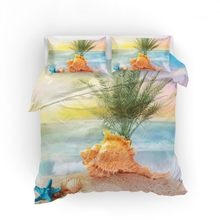 Holiday Bedding Set Tropical Beach Duvet Cover Set Pillowcase Starfish Shell Swim Ring Bed Linen Set Full Queen King Bedding(China)