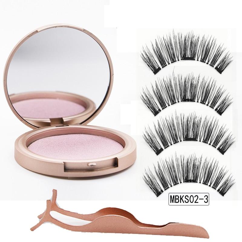 MB 3 Magnetic Eyelashes Natural Long Magneti Mink Eyelashes Set Hand Made 3D False Eye lashes tweezers faux cils magnetique 6