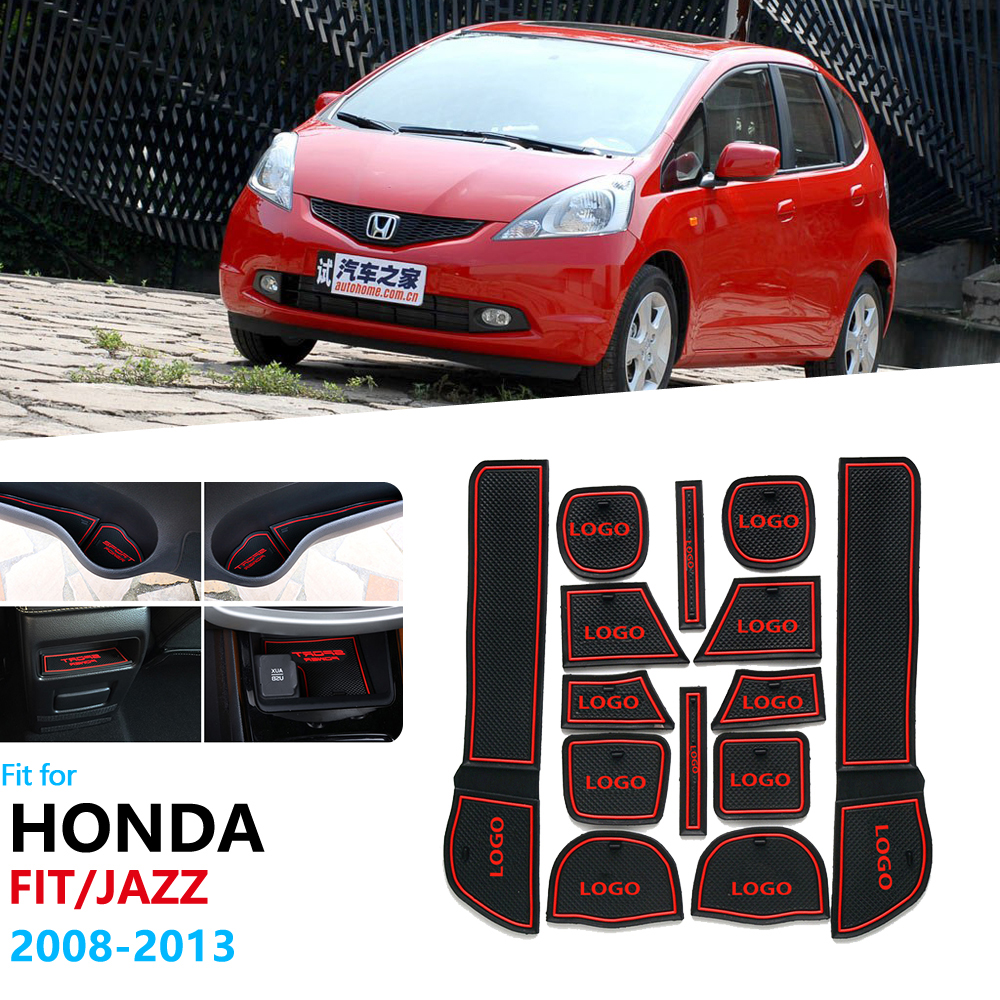 Anti-Slip Rubber Gate Slot Cup Mat For Honda Fit Jazz 2008~2013 Door Groove Mat E6 GE7 GE8 GE9 2009 2010 Accessories Stickers