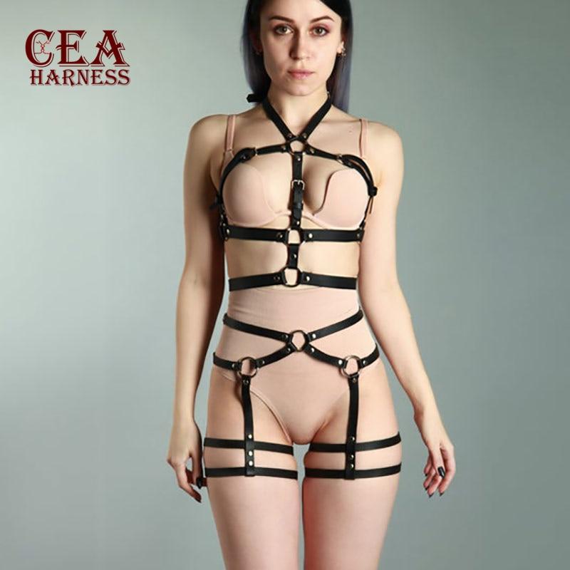 CEA.HARNESS Erotic Accessories Belts Bust Bondage Femdome Leather Garter Suspenders Straps For Women Harajuku Lingerie Harness