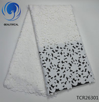 BEAUTIFICAL White Lace Swiss Voile For Dress 5 Yards Dry Lace 2019 In Switzerland Voile Lace Fabric TCR263
