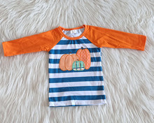 high quality boy fashion pumpkin shirt boy fall embroidery design raglan shirt wholesale boy Halloween t-shirt(China)