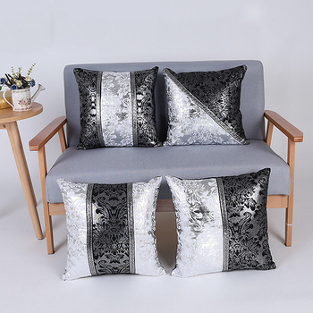 New Luxury Cushion Covers Bolster Black and Silver Pillow Cases Shells for Couch Sofa Home Decoration Vintage Floral Decorative image