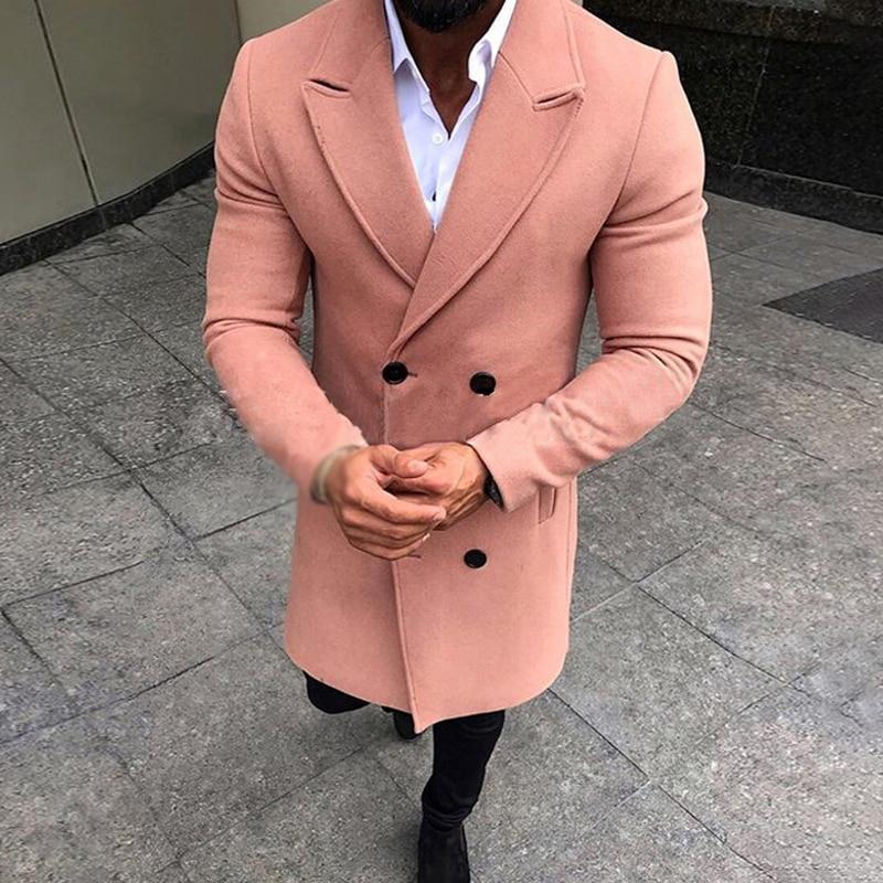 Men jackets Lapel Coat Blazer Suit buttons gentlemen Overcoat Warm Autumn Winter Business Casual office smart casual coat