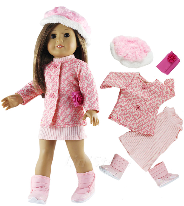 1 Set Doll Clothes Pink Outfit Coat+dress For 18