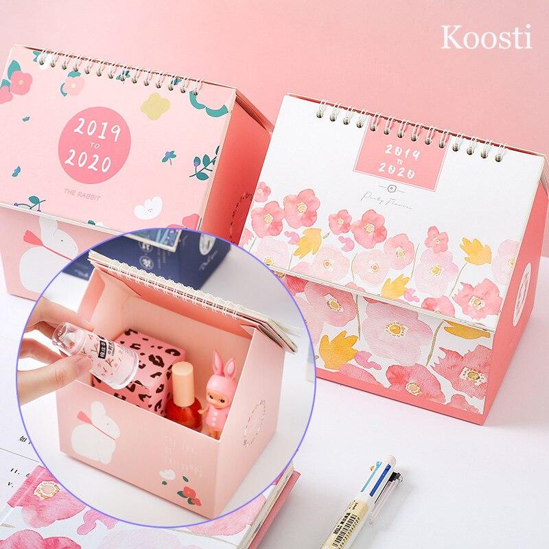 2019-2020 Desktop Standing Paper Calendar Memo Daily Schedule Table Planner Yearly Agenda Organizer Makeup Holder Storage Box