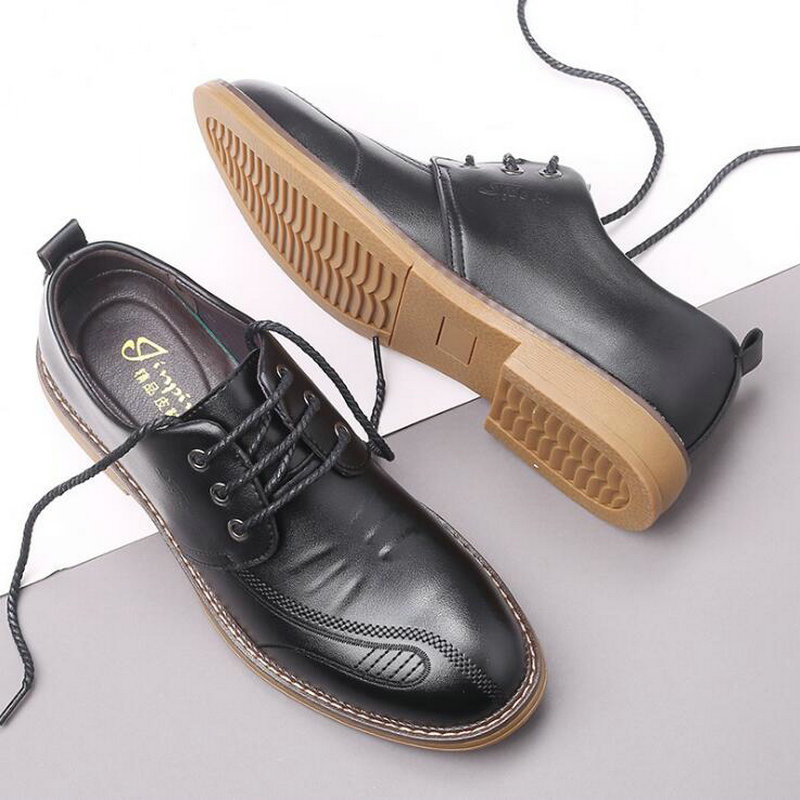 New Autumn New Casual Shoes Mens Leather Flats Lace-Up Shoes Simple Stylish Male Oxford Shoes A21-57Z