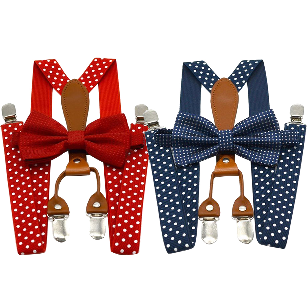Polka Dot Bow Tie Suspenders For Men Women Adjustable 4 Clip Alloy Button Navy Red Braces Elastic Bow Tie Leather Adult Bowtie