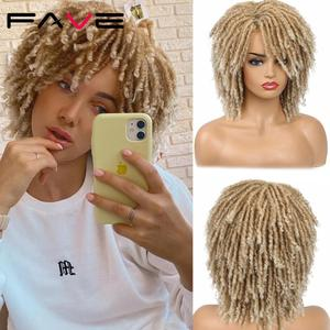 FAVE Dreadlock Curly Faux Locs Wig Short Twist Ombre Mixed Blonde Brown For Black White Women and Men Afro Curly Synthetic Wig