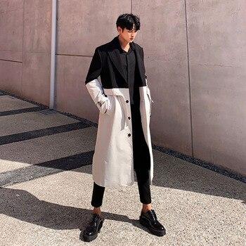 Men Black Splice White Loose Casual Long Trench Coat Male Vintage Streetwear Belt Windbreaker Outerwear Overcoat Jacket