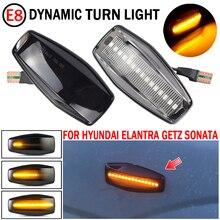 2pcs רכב ליונדאי סונטה (EF B) 2002 2005 LED דינמי הפעל אות אור צד פגוש סמן סדרתית נצנץ מנורה