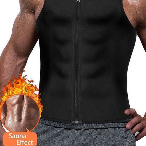 Hot Men's Workout Trainer Vest Tank Tops Sweat Sauna Waist Trainer Body Shaper Slim Male Athletic Gym Zipper Tee Shirt Plus Size