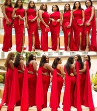 2020 Cheap Arabic Red Mermaid Bridesmaid Dresses One Shoulder Side Split Long Wedding Guest Dress Formal Maid of Honor Gowns