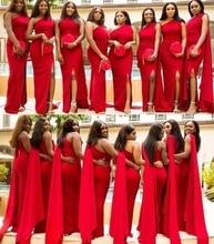2020 дешево Арабский Красный Русалка невесты Платья одно плечо сторона Сплит длинные свадебные гость платье формальные горничной честь платья
