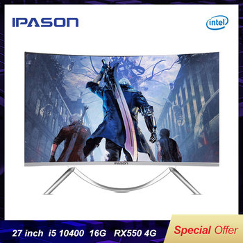 IPASON V10 27 Inch Curved All-In-One Gaming Computer New 10th Gen i5 10400 RX550 4G D4 RAM 16G 512G SSD PUBG Gaming Desktop PC