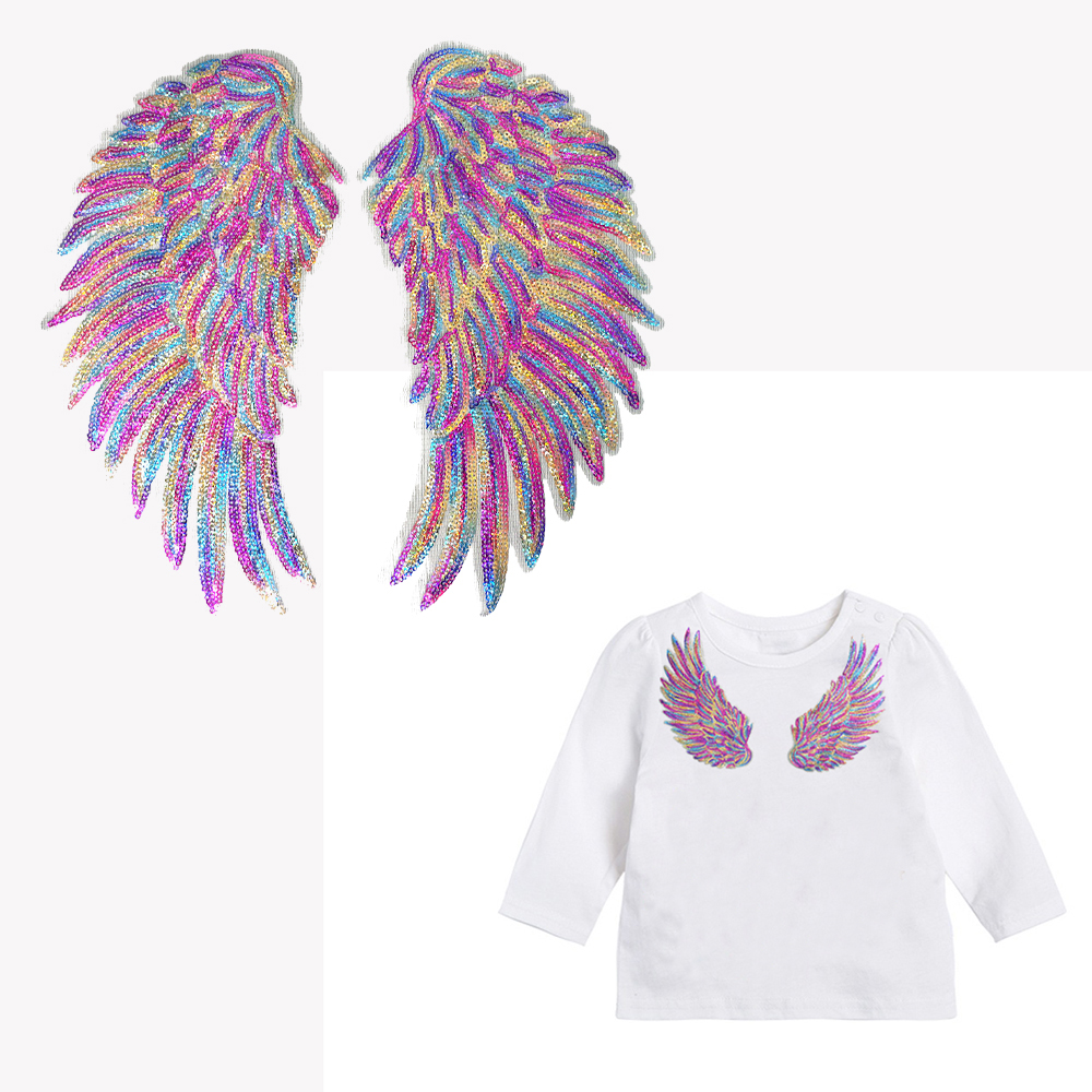 Rainbow Angel Wings Sequins Iron On Sewing Patches Embroidered Badges 1pair