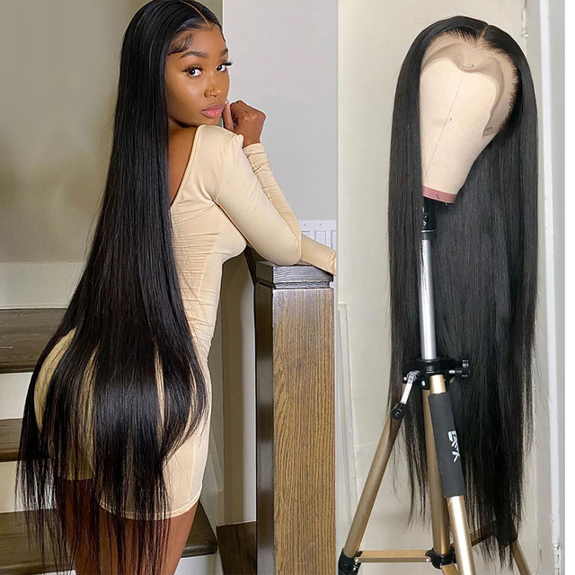 13x4 Straight Lace Front Wig Human Hair 30 Inch Full Hd Transparent 2