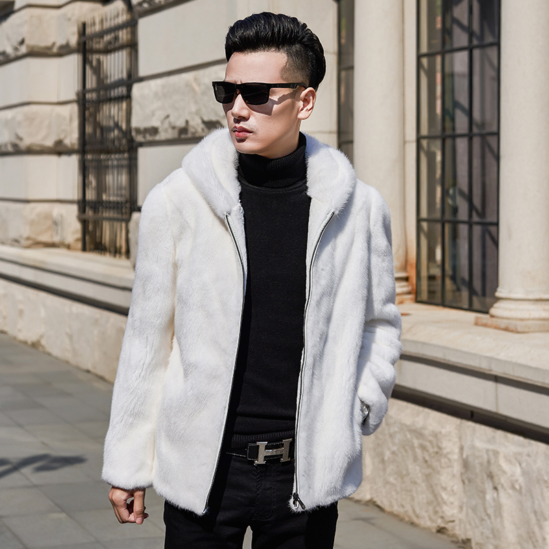 2020 Mens Mink Coat Real Fur Coat Men Winter Natural Mink Fur Jacket Hooded White Korean Jackets Coats 95005 KJ3305