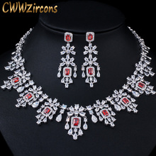 CWWZircons Shiny Cubic Zircon Big Round Drop Red Necklace Earrings Jewelry Sets for Brides Wedding Prom Dress Accessories T361