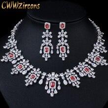 CWWZircons Shiny Cubic Zirkon Große Runde Tropfen Rot Halskette Ohrringe Schmuck Sets für Bräute Hochzeit Prom Kleid Zubehör T361