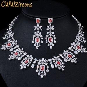 Image 1 - CWWZircons Shiny Cubic Zirkon Große Runde Tropfen Rot Halskette Ohrringe Schmuck Sets für Bräute Hochzeit Prom Kleid Zubehör T361