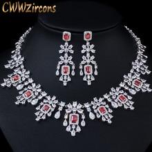 CWWZircons Shiny Cubic Zirkoon Grote Ronde Drop Rode Ketting Oorbellen Sieraden Sets voor Bruiden Bruiloft Prom Dress Accessoires T361
