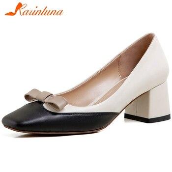 KARINLUNA Luxury Beand New Ladies Party Ol Pumps Mixed Colors Bowtie Spring Autumn Pumps Women Genuine Leather Shoes Woman
