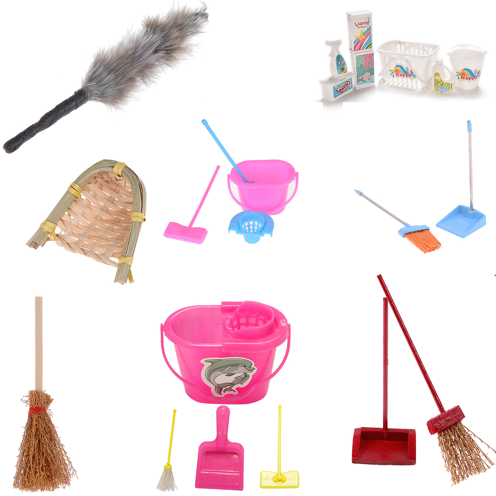 Dustpan Bucket Brush Mop Housework Cleaning Tools For Dolls 1/12 Scale Miniature Baby Toys Dollhouse Garden Accessories