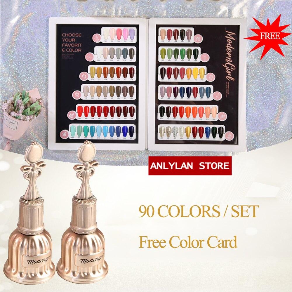 Anlylan 90pcs/lot 15ml Gel Nail Glitter Polish Set Semi Permanent UV Soak Off  Nail Gel Kits For Manicure Nail Art