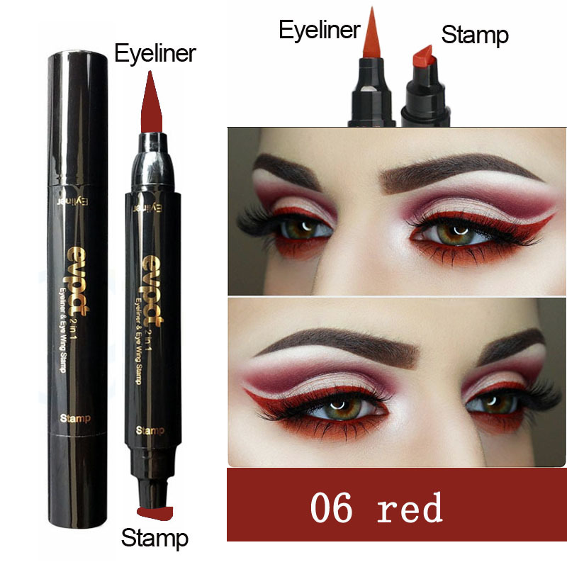 2 In 1 Liquid Glitter Eyeliner Stamp Thin Wing Seal Makeup Black Eye Liner Pencil 6 Color Blue Brown Smoky Eyes Cosmetic TSLM2