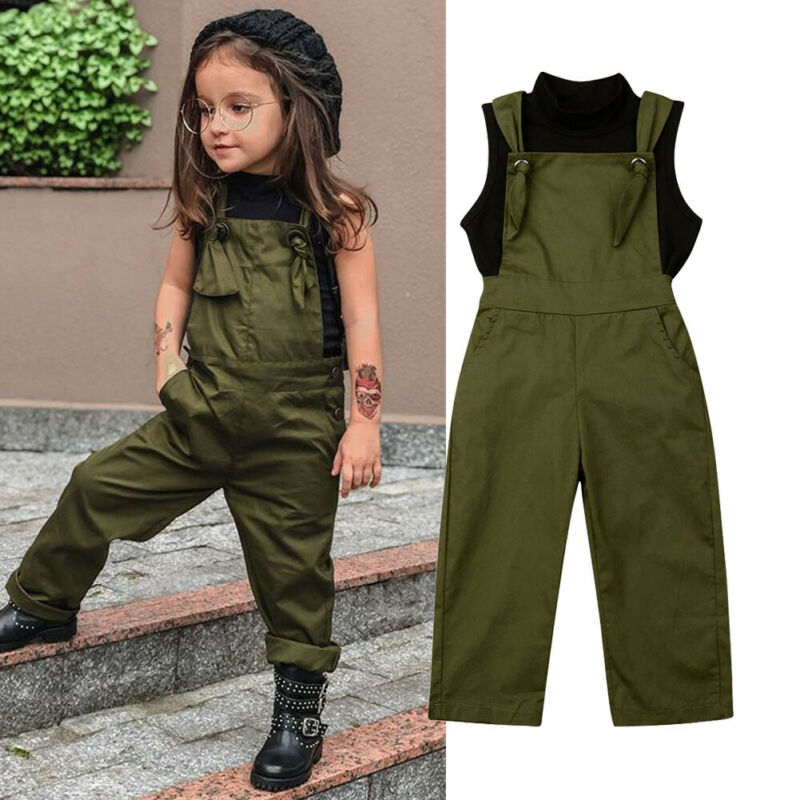 UK Newborn Kid Baby Girl Floral Clothes Sleeveless Romper Overalls Pants Outfit
